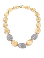 Marco Bicego Lunaria Diamond And 18K Yellow Gold Three Station Collar Necklace Gold Diamond