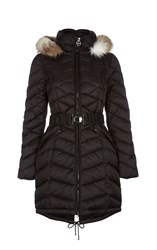 Dawn Levy Hooded Jacket With Belted Waistband Black