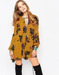 Free People Mini Smock Dress In Oversized Floral Print Ambermulti