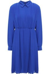 Mikael Aghal Woman Pleated Crepe Dress Royal Blue
