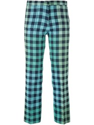 Victoria Beckham Gingham Check Trousers Green