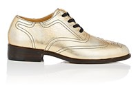 Esquivel Distressed Metallic Leather Wingtip Oxfords Gold