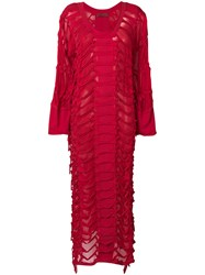 Di Liborio Side Slit Sweater Maxi Dress Red