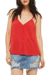 Topshop Women's Button Front Pindot Camisole Red