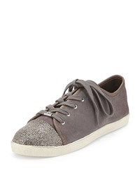Delman Magie Low Top Suede Sneaker Stone Grey