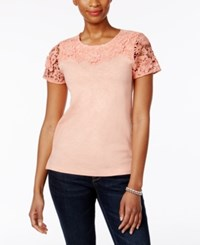 Charter Club Cotton Lace Sleeve Top Only At Macy's Light Blush