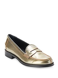 Tod's Leather Slip On Loafers Gold