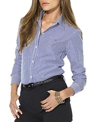 Lauren Ralph Lauren Petite Classic Long Sleeved Shirt Blue White