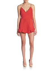 Saks Fifth Avenue Red Cotton Eyelet Short Jumpsuit Coral