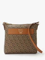 Dkny Warren Logo Print Cross Body Mocha Driftwood