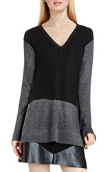 Vince Camuto Women's Colorblock Waffle Stitch V Neck Sweater Rich Black