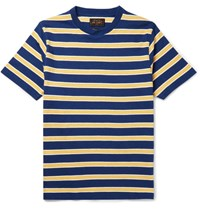 Beams Plus Striped Cotton Jersey T Shirt Navy
