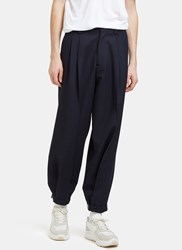Marni Wide Leg Gabardine Pants Navy