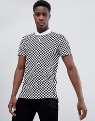 Tom Tailor Polo Shirt In Checkerboard Print White