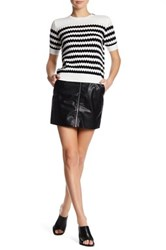 French Connection Faux Leather Zip Skirt Black