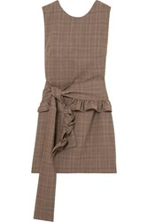 Maggie Marilyn I've Got Your Back Belted Checked Organic Wool Mini Dress Brown