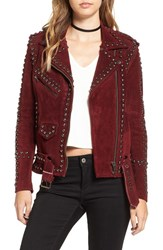 For Love And Lemons Women's 'Jameson' Studded Suede Moto Jacket