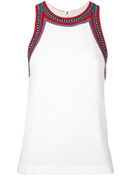 Tory Burch Embellished Trim Tank White