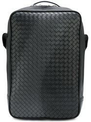 Bottega Veneta Square Intrecciato Backpack Leather Black