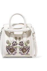 Alexander Mcqueen The Heroine Mini Embellished Leather And Satin Shoulder Bag White