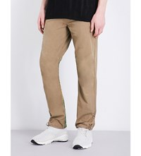 Mhi Tiger Embroidered Cotton Trousers Sand