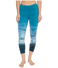 Hard Tail Flat Waist Capri Leggings Rainbow Horizon 51 Women's Workout Blue