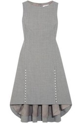 Adeam Faux Pearl Embellished Woven Dress Gray