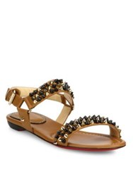 Christian Louboutin Bikee Bike Spiked Leather Flat Sandals Brown