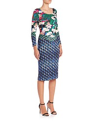 Mary Katrantzou Mixed Printed Jersey Dress Blue Jewel