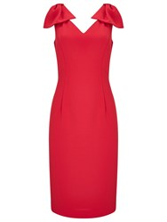 Jacques Vert Bow Detail Dress Mid Red