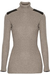 Autumn Cashmere Leather Paneled Ribbed Cashmere Turtleneck Sweater Brown