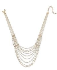 Inc International Concepts I.N.C. Gold Tone Crystal And Bead Multi Row Statement Necklace 18 3 Extender Created For Macy's Gold White Crys