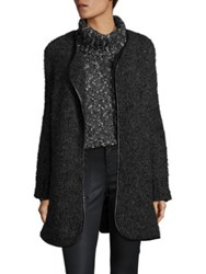 Joie Misae Wool And Alpaca Marled Boucle Cardigan Heather Charcoal