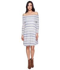 Culture Phit Kalea Off The Shoulder Sweater Dress Blue Ivory Women's Dress Gray