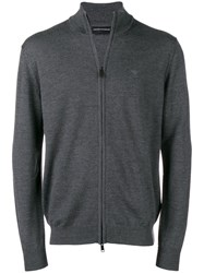 Emporio Armani Zip Front Sweater Grey
