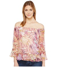 Lucky Brand Palm Print Off The Shoulder Top Multi Women's Long Sleeve Pullover