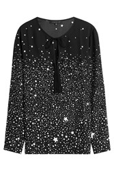 Barbara Bui Star Print Silk Blouse Black