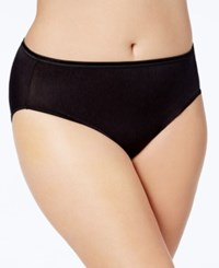 Vanity Fair Women's Illumination Plus Size High Cut Satin Trim Brief 13810 Midnight Black