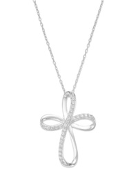 Macy's Inspirational Sterling Silver Cubic Zirconia Cross Pendant Necklace