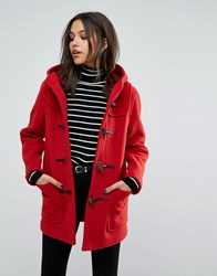 Gloverall Classic Mid Length Duffle Coat Red Old Check