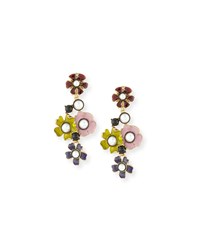 Oscar De La Renta Pearly Enamel Flower Drop Clip Earrings Multi Multi Colors