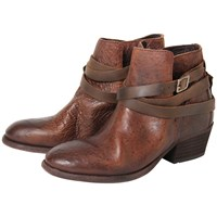 Hudson H By Horrigan Strapped Ankle Boots Tan Leather