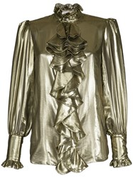Redemption Ruffled Front Blouse Silk Polyester Metallic