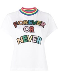 Mira Mikati Forever Or Never Glitter Embellished T Shirt Cotton White