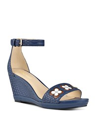 Nine West Julian Floral Snake Embossed Suede Wedge Sandals Navy Blue
