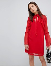 Neon Rose Pussy Bow Ruffle Smock Dress Red