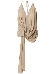 Jacquemus Knotted Front Top Brown