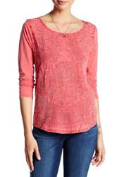 Lucky Brand Embroidered Ballet Neck Tee Orange