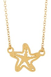Kris Nations 14K Gold Plated Starfish Charm Necklace Metallic