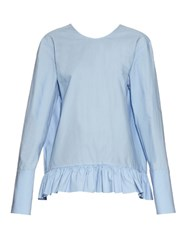 Marni Ruffled Hem Long Sleeved Cotton Top Light Blue